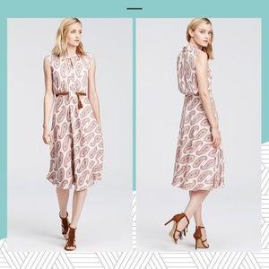 Ann Taylor - Paisley Chiffon Tie Neck Midi Dress